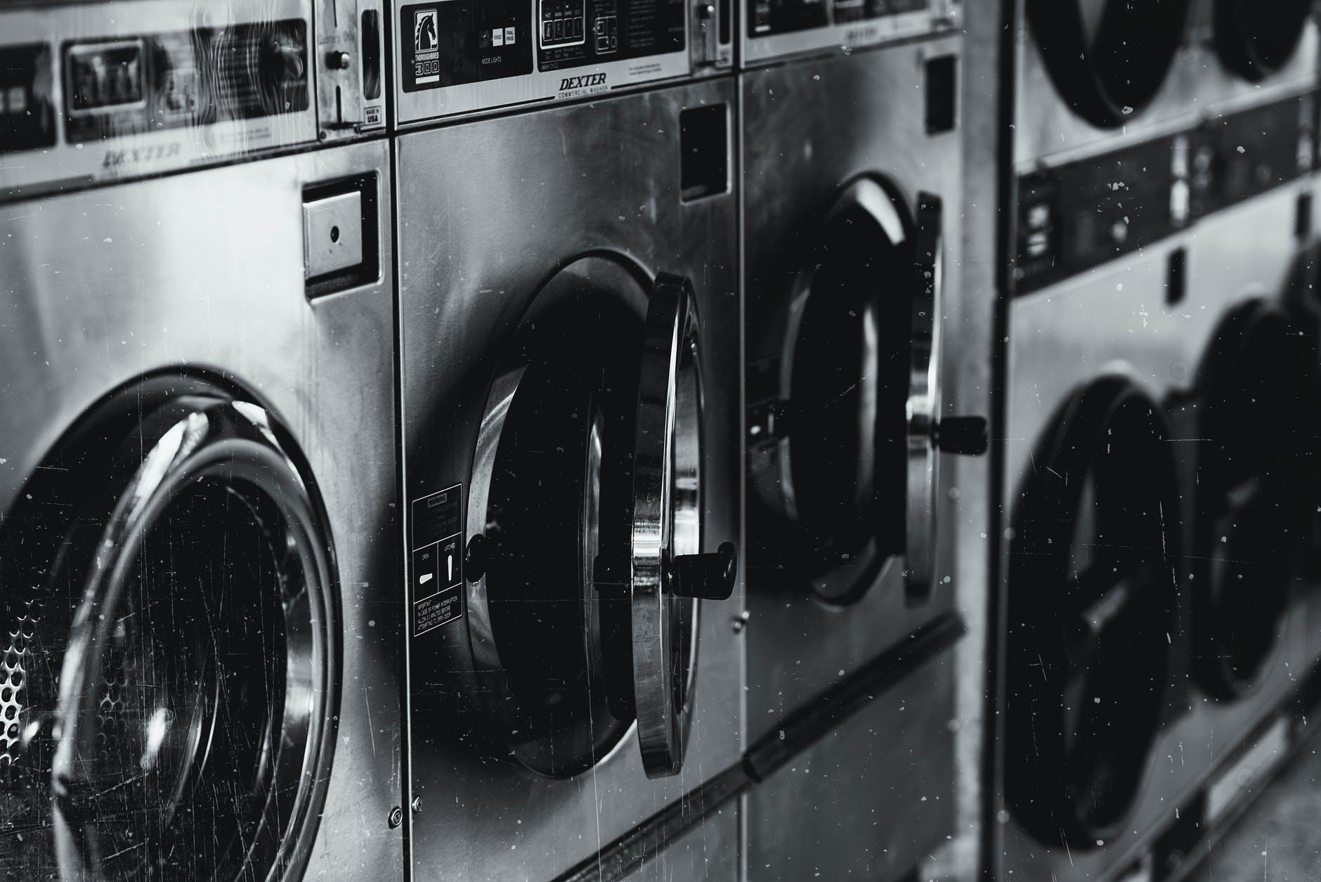 grayscale photo of washing machine
